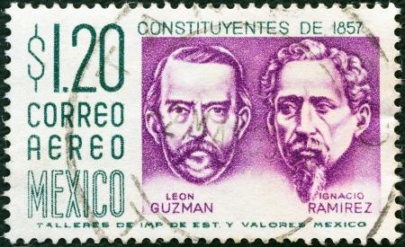 ignacio: MEXICO - CIRCA 1956: A stamp printed in Mexico shows Leon Guzman and Ignacio Ramirez, circa 1956.  Editorial