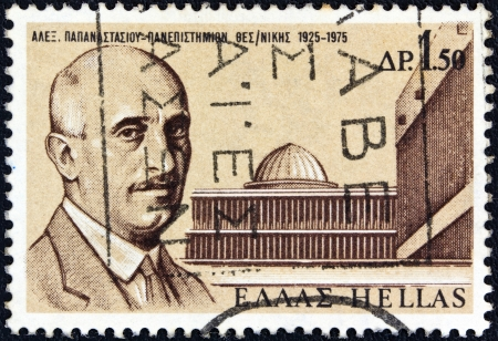 alexandros: GREECE - CIRCA 1975: A stamp printed in Greece issued for the 50th Anniversary of Thessaloniki University, shows a portrait of founder Alexandros Papanastasiou and University Buildings, circa 1975. Editorial