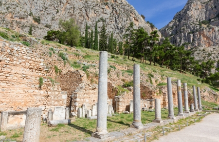 Ancient Roman forum colonnade, Delphi, Greece photo