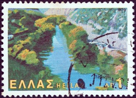 stempeln: GREECE - CIRCA 1979: A stamp printed in Greece from the Landscapes issue shows Pineios river in vale of Tempe, Thessaly, circa 1979.