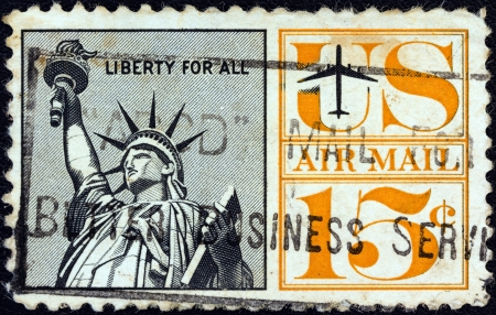 USA - CIRCA 1961: A stamp printed in USA shows Statue of Liberty, circa 1961.