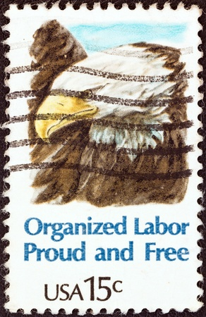 USA - CIRCA 1980: A stamp printed in USA from the 'Organized Labor' issue shows an American bald eagle, circa 1980.
