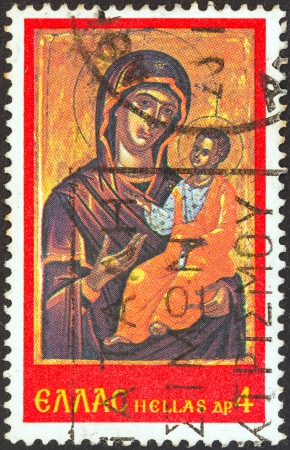 GREECE - CIRCA 1978: A stamp printed in Greece from the Christmas. Icons from Stavronikita monastery, mount Athos issue shows Virgin and Child, circa 1978.