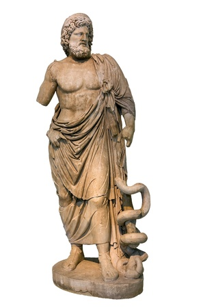 Statue of ancient Greek god of medicine and healing Asclepius, isolated