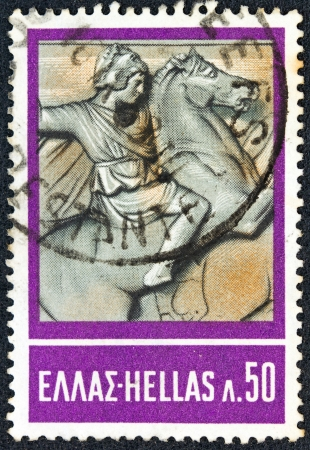 hellenic: GREECE - CIRCA 1968: A stamp printed in Greece from the Hellenic Fight for Civilization Exhibition, Athens issue shows Alexander the Great (from sarcophagus of Alexander of Sidon), circa 1968.