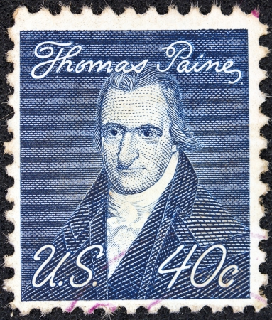 prominent: USA - CIRCA 1968: A stamp printed in USA from the Prominent Americans issue shows a portrait of author Thomas Paine (by John Wesley Jarvis), circa 1968.