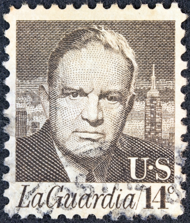 prominent: USA - CIRCA 1972: A stamp printed in USA from the Prominent Americans issue shows a portrait of New York mayor Fiorello La Guardia, circa 1972.