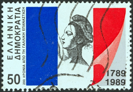 phrygian: GREECE - CIRCA 1989: A stamp printed in Greece issued for the bicentenary of the French revolution, shows the French flag and Liberty, circa 1989.