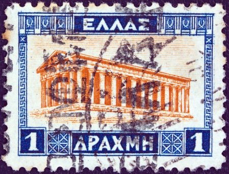peripteral: GREECE - CIRCA 1927: A stamp printed in Greece from the Landscapes issue, shows the Temple of Hephaestus, Athens, circa 1927.