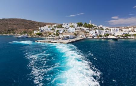 Leaving Adamantas port, Milos island, Cyclades, Greece Stock Photo