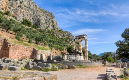 Sanctuary of Athena Pronaia, Delphi, Greece photo
