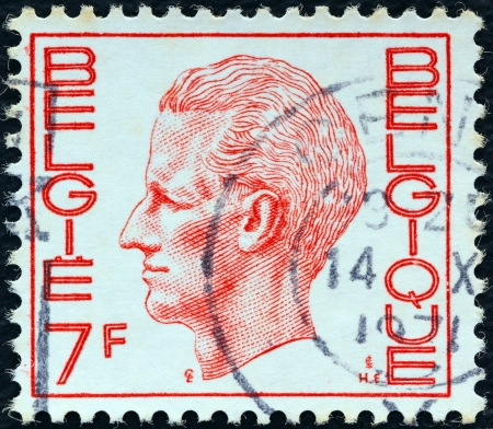 stempeln: BELGIUM - CIRCA 1971: A stamp printed in Belgium shows King Baudouin, circa 1971.  Editorial