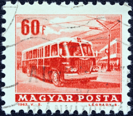 magyar: HUNGARY - CIRCA 1963: A stamp printed in Hungary from the Transport and Communications issue shows a trolley bus, circa 1963.