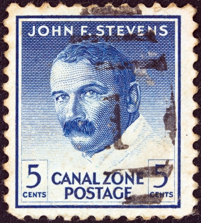 PANAMA CANAL ZONE- CIRCA 1946: A stamp printed in Panama Canal Zone shows a portrait of engineer John F. Stevens, circa 1946.
