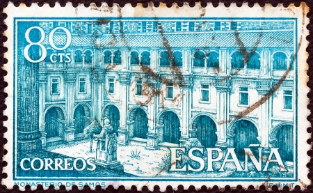 SPAIN - CIRCA 1960: A stamp printed in Spain shows Samos Monastery, circa 1960.  Editorial