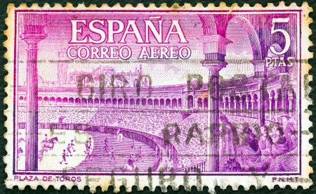 bullring: SPAIN - CIRCA 1960: A stamp printed in Spain from the Bullfighting issue shows bullring (Plaza de Toros), circa 1960.  Editorial