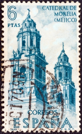 SPAIN - CIRCA 1970: A stamp printed in Spain from the Explorers and Colonizers of America (10th series) issue shows Morelia Cathedral, Mexico, circa 1970.