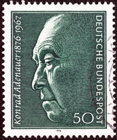 GERMANY - CIRCA 1976: A stamp printed in Germany issued for the birth centenary of Konrad Adenauer (Chancellor 1949-63) shows Konrad Adenauer, circa 1976.  Stock Photo - 16994059