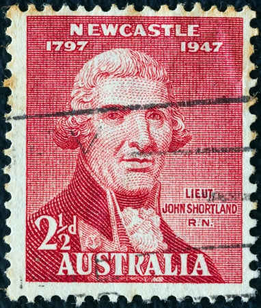AUSTRALIA - CIRCA 1947: A stamp printed in Australia issued for the 150th anniversary of city of Newcastle shows Lt. John Shortland, Royal Navy, circa 1947.  Stock Photo - 16994061