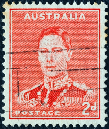 AUSTRALIA - CIRCA 1937: A stamp printed in Australia shows King George VI, circa 1937.  Stock Photo - 16994064