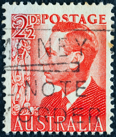 AUSTRALIA - CIRCA 1950: A stamp printed in Australia shows King George VI, circa 1950.  Stock Photo - 16994082
