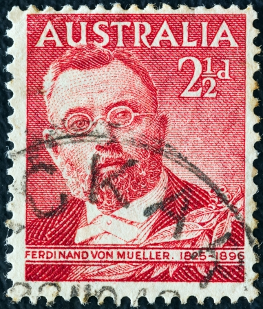 AUSTRALIA - CIRCA 1948: A stamp printed in Australia shows botanist Sir Ferdinand von Mueller, circa 1948.  Stock Photo - 16994078