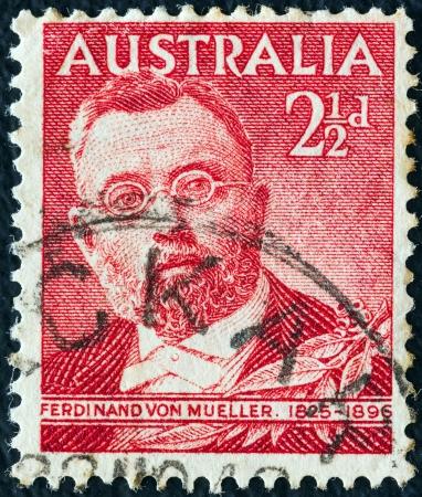 AUSTRALIA - CIRCA 1948: A stamp printed in Australia shows botanist Sir Ferdinand von Mueller, circa 1948.  Stock Photo - 16994078