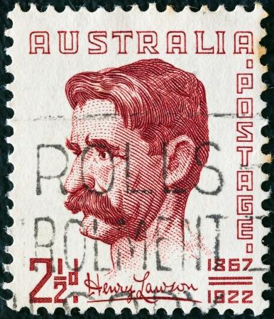 lawson: AUSTRALIA - CIRCA 1949: A stamp printed in Australia shows writer and poet Henry Lawson, circa 1949.