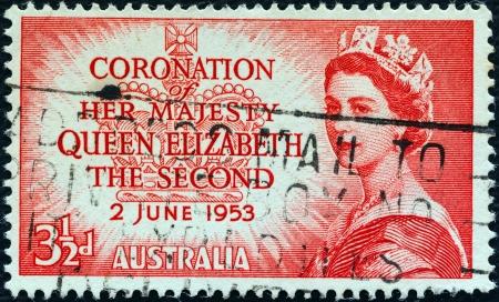 AUSTRALIA - CIRCA 1953: A stamp printed in Australia from the Coronation issue shows a portrait of Queen Elizabeth II, circa 1953.