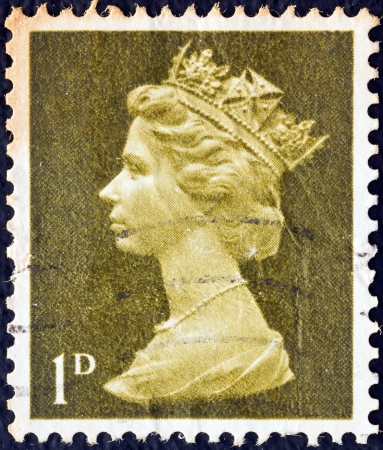 UNITED KINGDOM - CIRCA 1967: A stamp printed in United Kingdom shows Queen Elizabeth II, circa 1967.