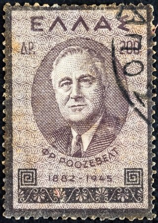 GREECE - CIRCA 1945: A stamp printed in Greece from the Roosevelt Mourning issue shows US President Franklin Roosevelt, circa 1945.