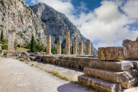 Ruins of Apollo temple, Delphi, Greece photo