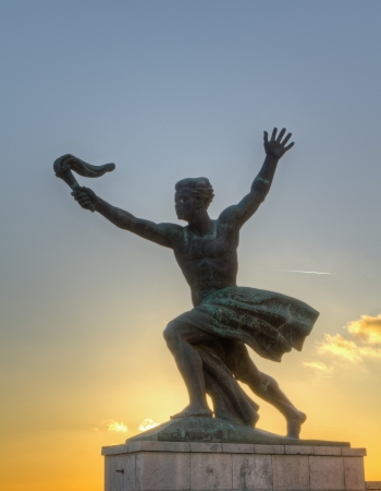 liberation: The Torchlight statue of The Liberation monument, Gellert hill ,Budapest  Stock Photo
