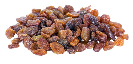 A pile of sultana raisins isolated