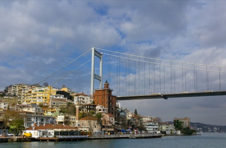 hisari: View of the Fatih Sultan Mehmet suspension bridge spanning the Bosphorus strait and Hisarustu neighborhood in European side, Istanbul, Turkey Stock Photo