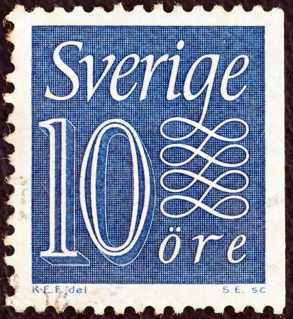 stempeln: SWEDEN - CIRCA 1951: A stamp printed in Sweden shows its value, circa 1951.