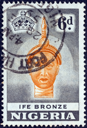 NIGERIA - CIRCA 1953: A stamp printed in Nigeria shows Ife bronze casting of a King, dated around 12th Century A.D., British Museum, circa 1953.