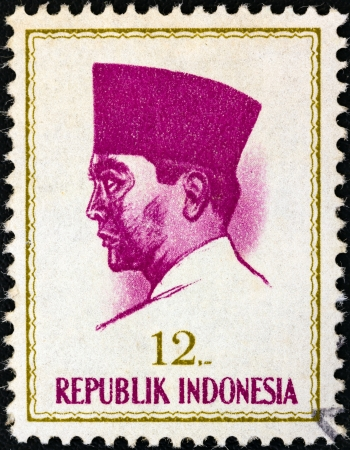 INDONESIA - CIRCA 1964: A stamp printed in Indonesia shows president Sukarno, circa 1964.  Stock Photo - 17063038