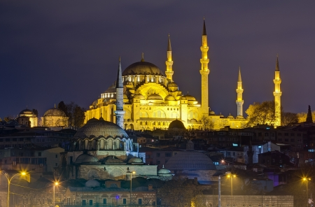 Suleymaniye Mosque night view, the largest in the city, Istanbul, Turkey photo