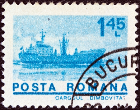 leu: ROMANIA - CIRCA 1974: A stamp printed in Romania from the ships issue shows Freighter Dimbovita, circa 1974.  Editorial
