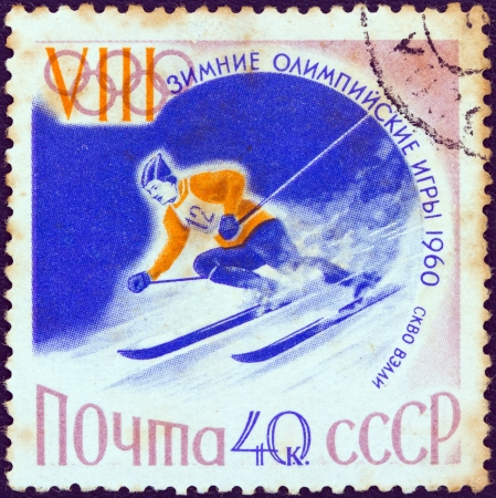 USSR - CIRCA 1960: A stamp printed in USSR from the Winter Olympic Games, Squaw Valley, California issue shows a Alpine skiing athlete, circa 1960.