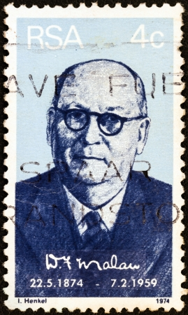 suid: SOUTH AFRICA - CIRCA 1974: A stamp printed in South Africa issued for the birth centenary of Daniel Francois Malan shows a portait of prime minister Daniel Francois Malan, circa 1974.
