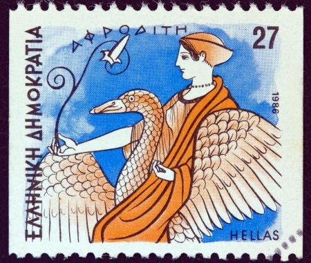 """afrodite: GRECIA - CIRCA 1986: Un timbro stampato in Grecia a partire da gli """"Dei dell'Olimpo"""" questione mostra dea Afrodite, circa 1986."""