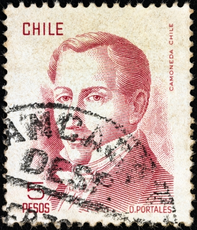 CHILE - CIRCA 1975: A stamp printed in Chile shows politician Diego Portales (1793-1837), circa 1975.  Stock Photo - 17146401