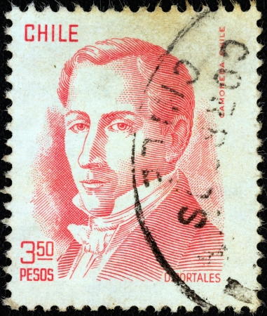 CHILE - CIRCA 1975: A stamp printed in Chile shows politician Diego Portales (1793-1837), circa 1975.  Stock Photo - 17146377