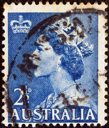 AUSTRALIA - CIRCA 1953: A stamp printed in Australia shows a portrait of Queen Elizabeth II, circa 1953.