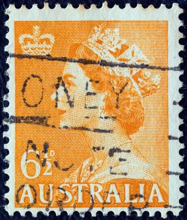 AUSTRALIA - CIRCA 1953: A stamp printed in Australia shows a portrait of Queen Elizabeth II, circa 1953.