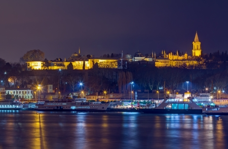 Night view of Topkapi Palace, Istanbul, Turkey photo