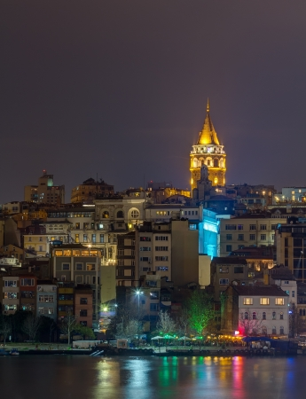 Night view of Galata Tower, Istanbul, Turkey photo