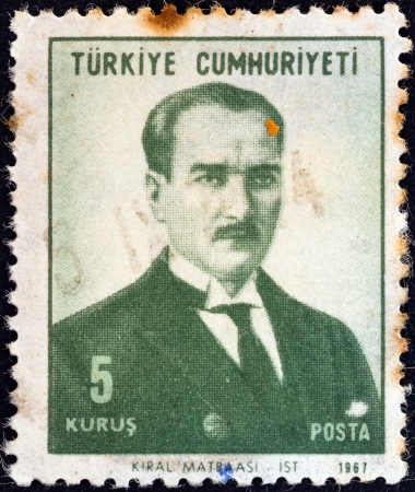 TURKEY - CIRCA 1968: A stamp printed in Turkey shows a portrait of Kemal Ataturk, circa 1968.